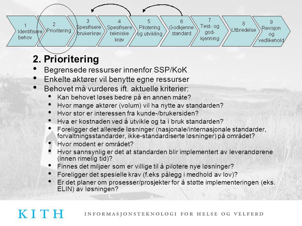 2. Prioritering Begrensede ressurser innenfor SSP/KoK Enkelte aktører vil benytte egne ressurser Behovet må vurderes ift. aktuelle kriterier: Kan beho