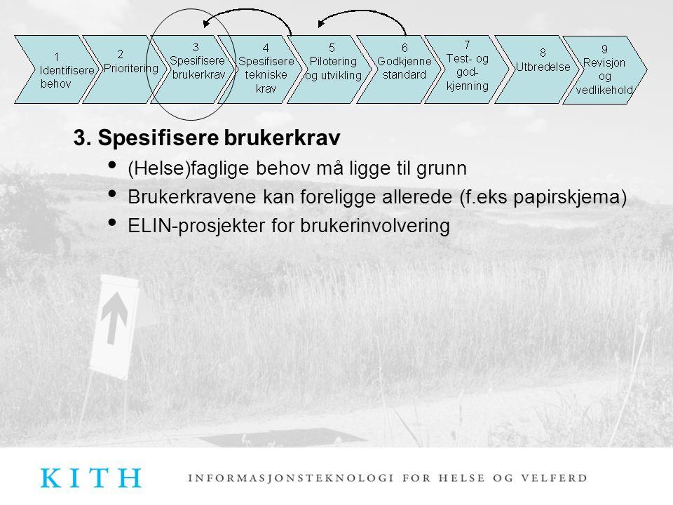 3. Spesifisere brukerkrav (Helse)faglige behov må ligge til grunn Brukerkravene kan foreligge allerede (f.eks papirskjema) ELIN-prosjekter for brukeri
