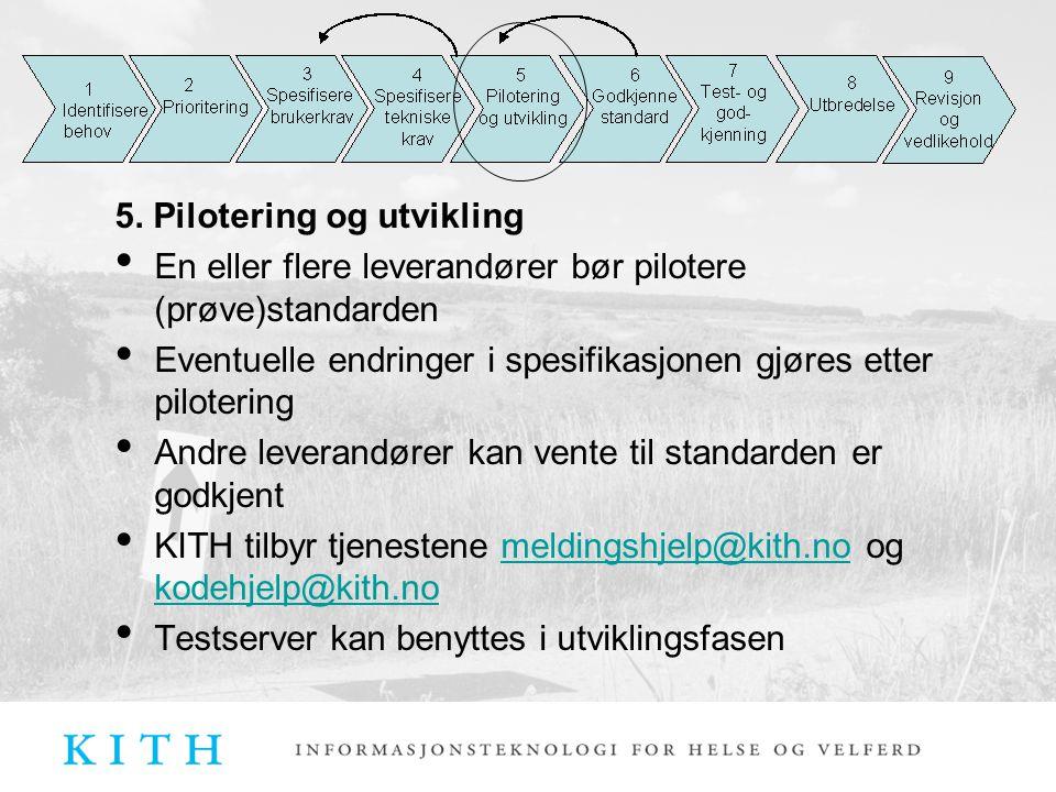 5. Pilotering og utvikling En eller flere leverandører bør pilotere (prøve)standarden Eventuelle endringer i spesifikasjonen gjøres etter pilotering A