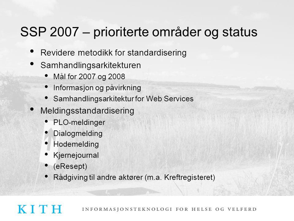 SSP 2007 Metodikk for skjemahåndtering Nasjonale retningslinjer for skjema Test- og godkjenningsordningen 15 nye godkjenninger + 11 påstartet i år Mange nye akseptansetester og valideringsfiler Tjeneste for ebXML og applikasjonskvittering etablert Leverandørene er positive Brukes av prosjekter som ELIN, ELIN-k, eResept EPJ-standard Revisjon fullføres Høring gjennomført