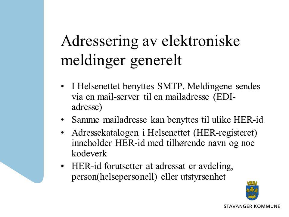 Adressering av elektroniske meldinger generelt I Helsenettet benyttes SMTP.
