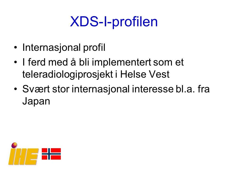 XDS-I-profilen Internasjonal profil I ferd med å bli implementert som et teleradiologiprosjekt i Helse Vest Svært stor internasjonal interesse bl.a. f