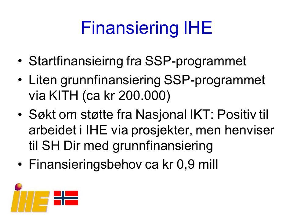Finansiering IHE Startfinansieirng fra SSP-programmet Liten grunnfinansiering SSP-programmet via KITH (ca kr 200.000) Søkt om støtte fra Nasjonal IKT: