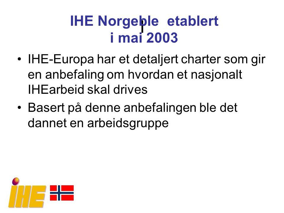 I IHE-Europa har et detaljert charter som gir en anbefaling om hvordan et nasjonalt IHEarbeid skal drives Basert på denne anbefalingen ble det dannet