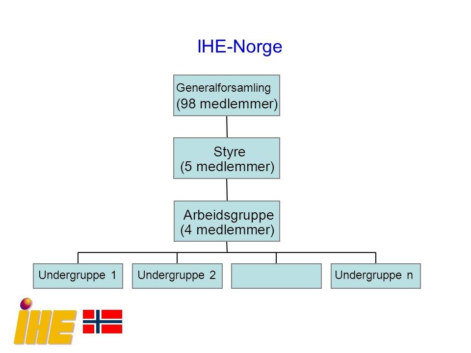 IHE-Norge Undergruppe 1Undergruppe 2Undergruppe n Arbeidsgruppe (4 medlemmer) Styre (5 medlemmer) Generalforsamling (98 medlemmer)
