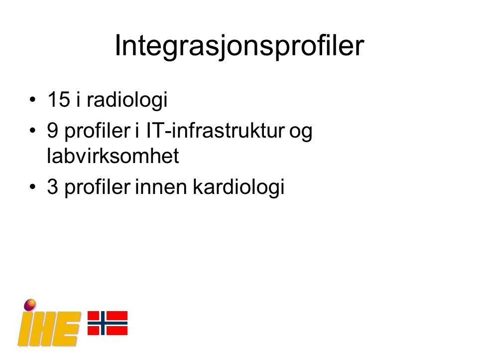 Integrasjonsprofiler 15 i radiologi 9 profiler i IT-infrastruktur og labvirksomhet 3 profiler innen kardiologi