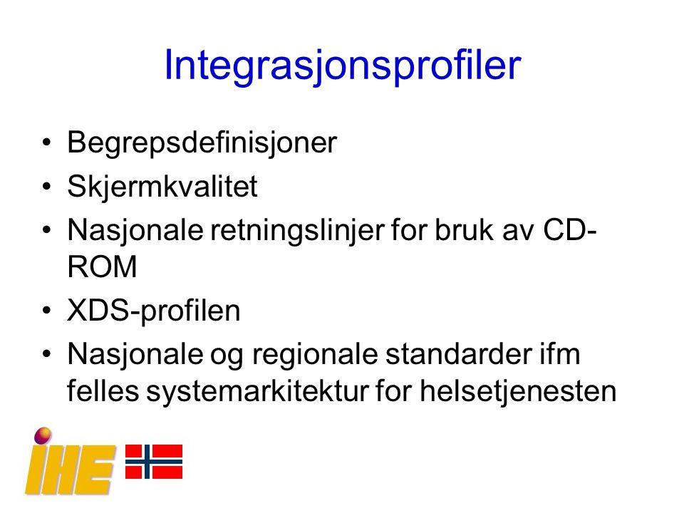 Integrasjonsprofiler Begrepsdefinisjoner Skjermkvalitet Nasjonale retningslinjer for bruk av CD- ROM XDS-profilen Nasjonale og regionale standarder if