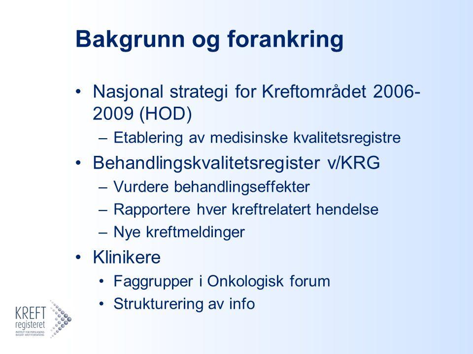 Bakgrunn og forankring Nasjonal strategi for Kreftområdet 2006- 2009 (HOD) –Etablering av medisinske kvalitetsregistre Behandlingskvalitetsregister v/