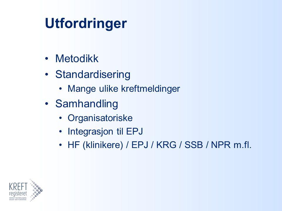 Utfordringer Metodikk Standardisering Mange ulike kreftmeldinger Samhandling Organisatoriske Integrasjon til EPJ HF (klinikere) / EPJ / KRG / SSB / NPR m.fl.
