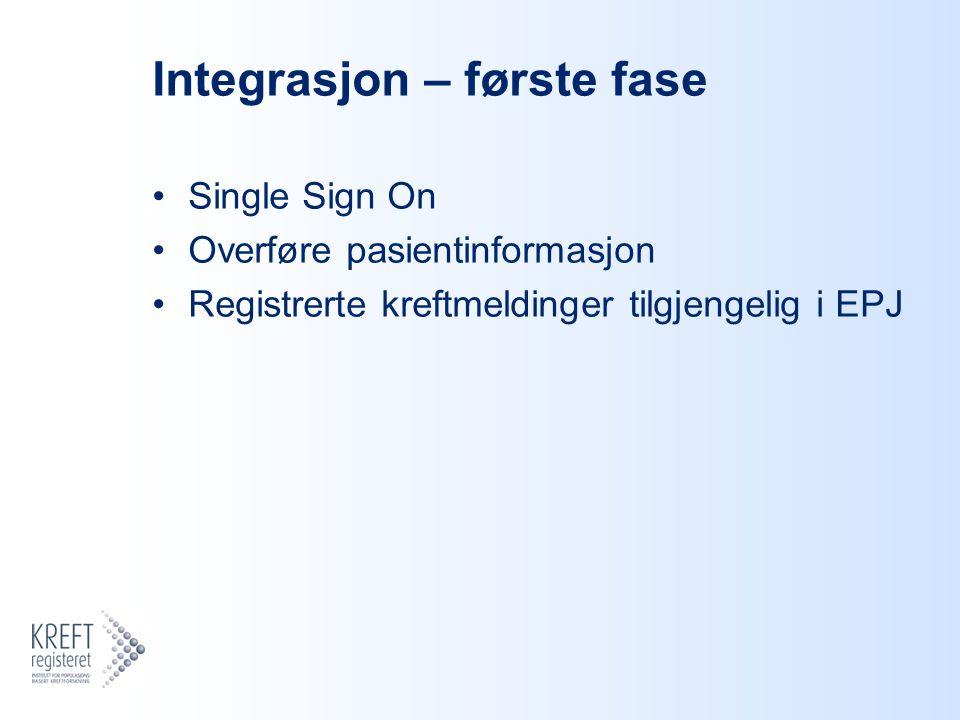 Integrasjon – første fase Single Sign On Overføre pasientinformasjon Registrerte kreftmeldinger tilgjengelig i EPJ
