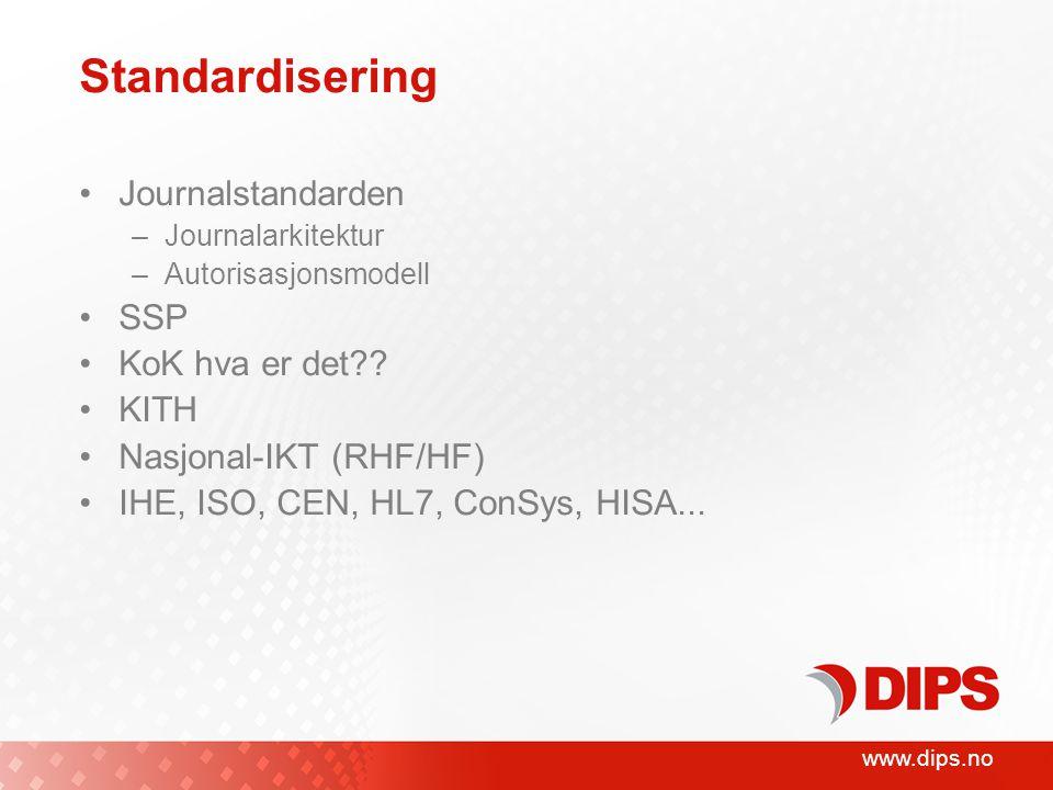 www.dips.no Standardisering Journalstandarden –Journalarkitektur –Autorisasjonsmodell SSP KoK hva er det .