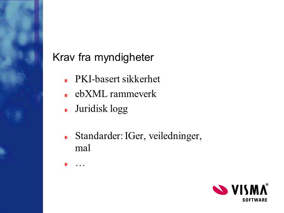 Krav fra myndigheter PKI-basert sikkerhet ebXML rammeverk Juridisk logg Standarder: IGer, veiledninger, mal …