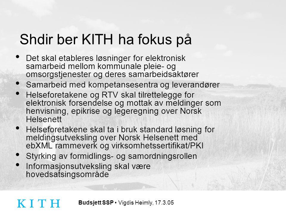 Budsjett SSP Vigdis Heimly, 17.3.05 Shdir ber KITH ha fokus på Det skal etableres løsninger for elektronisk samarbeid mellom kommunale pleie- og omsorgstjenester og deres samarbeidsaktører Samarbeid med kompetansesentra og leverandører Helseforetakene og RTV skal tilrettelegge for elektronisk forsendelse og mottak av meldinger som henvisning, epikrise og legeregning over Norsk Helsenett Helseforetakene skal ta i bruk standard løsning for meldingsutveksling over Norsk Helsenett med ebXML rammeverk og virksomhetssertifikat/PKI Styrking av formidlings- og samordningsrollen Informasjonsutveksling skal være hovedsatsingsområde