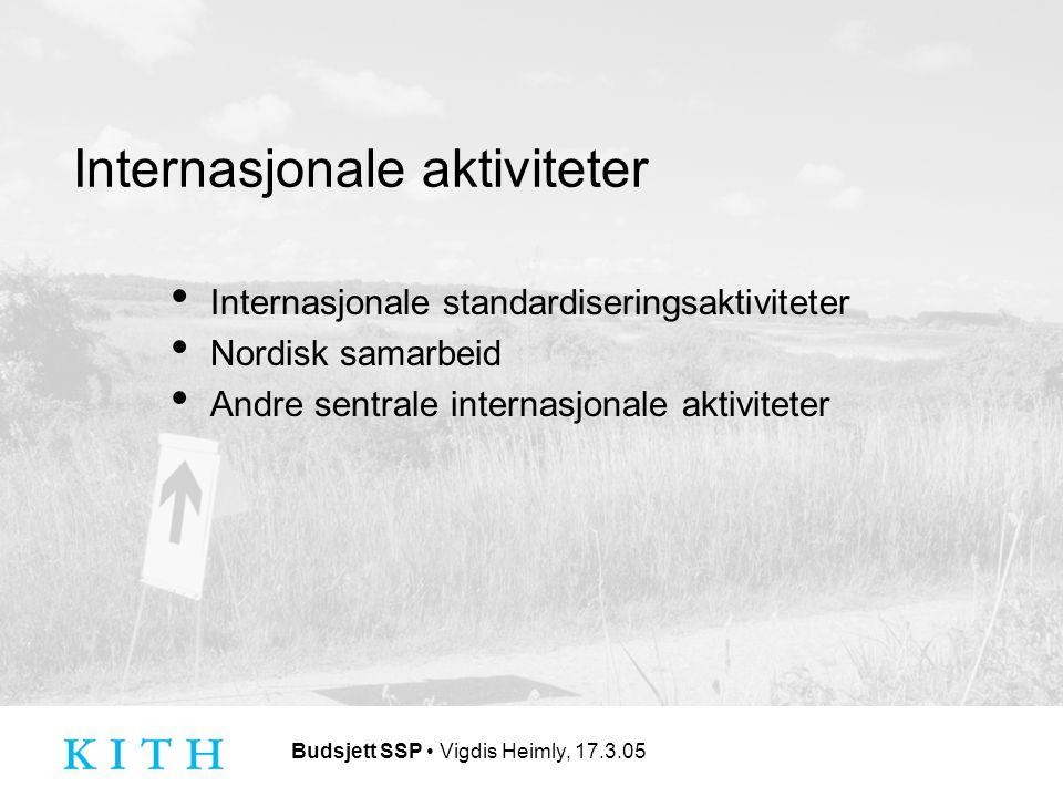 Budsjett SSP Vigdis Heimly, 17.3.05 Internasjonale aktiviteter Internasjonale standardiseringsaktiviteter Nordisk samarbeid Andre sentrale internasjonale aktiviteter