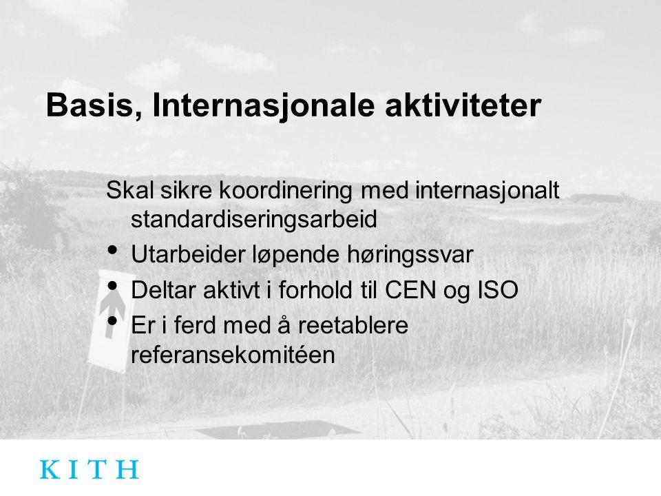 Basis, Internasjonale aktiviteter Skal sikre koordinering med internasjonalt standardiseringsarbeid Utarbeider løpende høringssvar Deltar aktivt i forhold til CEN og ISO Er i ferd med å reetablere referansekomitéen