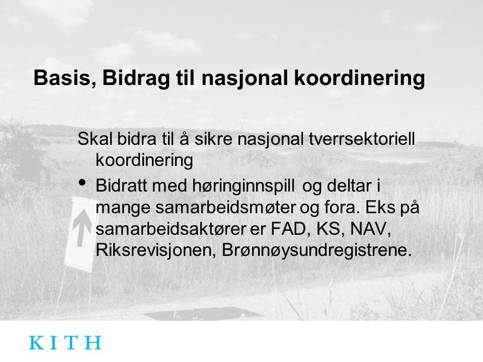 Basis, Bidrag til nasjonal koordinering Skal bidra til å sikre nasjonal tverrsektoriell koordinering Bidratt med høringinnspill og deltar i mange samarbeidsmøter og fora.