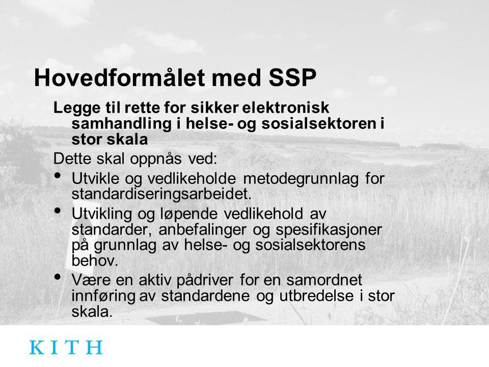 Hovedformålet med SSP Legge til rette for sikker elektronisk samhandling i helse- og sosialsektoren i stor skala Dette skal oppnås ved: Utvikle og vedlikeholde metodegrunnlag for standardiseringsarbeidet.