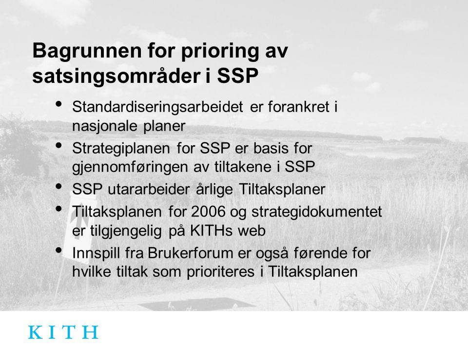 Bagrunnen for prioring av satsingsområder i SSP Standardiseringsarbeidet er forankret i nasjonale planer Strategiplanen for SSP er basis for gjennomføringen av tiltakene i SSP SSP utararbeider årlige Tiltaksplaner Tiltaksplanen for 2006 og strategidokumentet er tilgjengelig på KITHs web Innspill fra Brukerforum er også førende for hvilke tiltak som prioriteres i Tiltaksplanen
