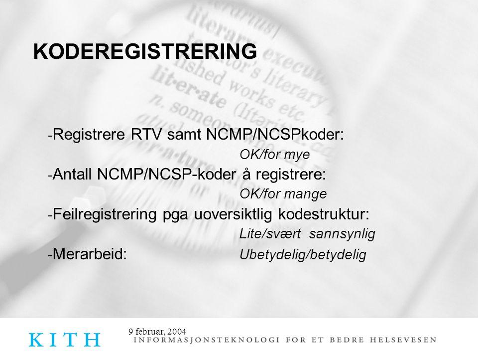 9 februar, 2004 KODEREGISTRERING - Registrere RTV samt NCMP/NCSPkoder: OK/for mye - Antall NCMP/NCSP-koder å registrere: OK/for mange - Feilregistrering pga uoversiktlig kodestruktur: Lite/svært sannsynlig - Merarbeid: Ubetydelig/betydelig