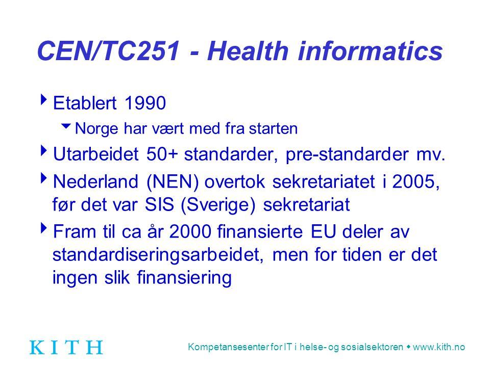 Kompetansesenter for IT i helse- og sosialsektoren  www.kith.no CEN/TC251 - Health informatics  Etablert 1990  Norge har vært med fra starten  Utarbeidet 50+ standarder, pre-standarder mv.