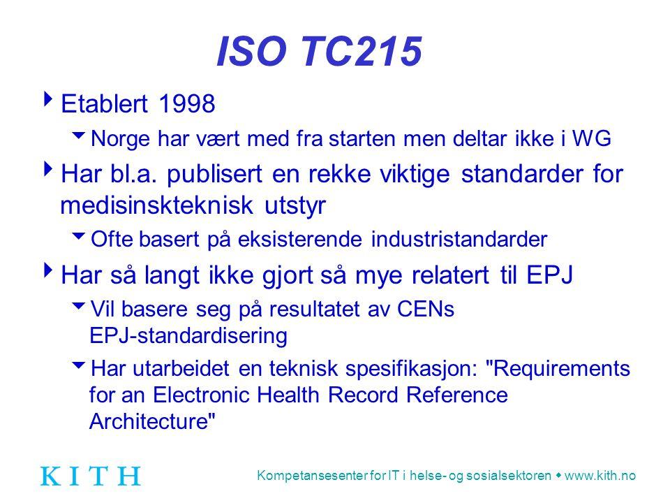 Kompetansesenter for IT i helse- og sosialsektoren  www.kith.no ISO TC215  Etablert 1998  Norge har vært med fra starten men deltar ikke i WG  Har bl.a.