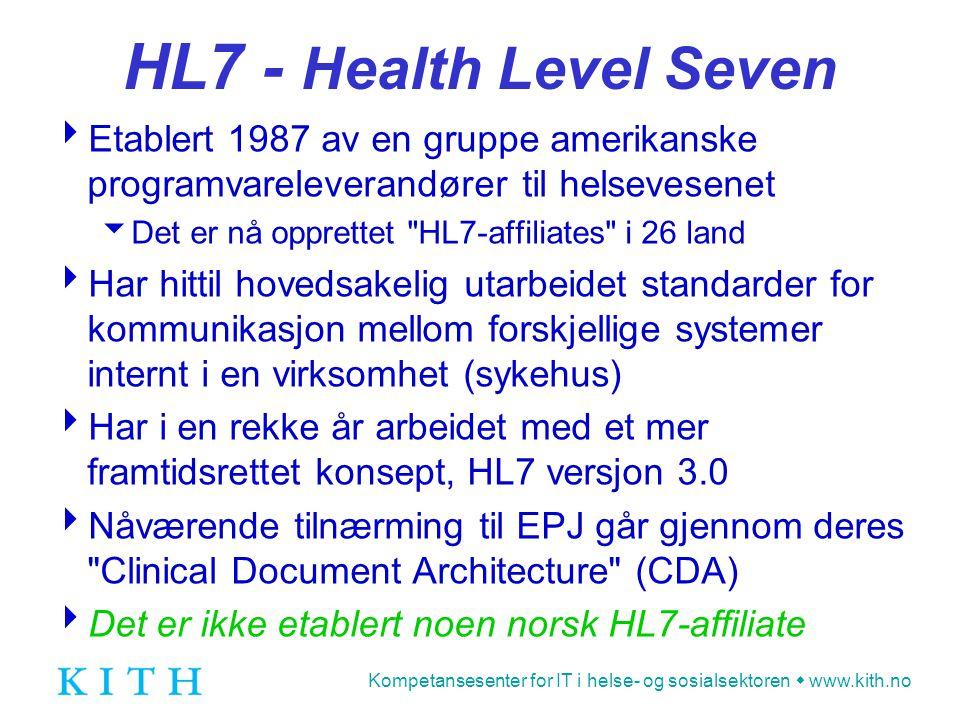 Kompetansesenter for IT i helse- og sosialsektoren  www.kith.no HL7 - Health Level Seven  Etablert 1987 av en gruppe amerikanske programvareleverand