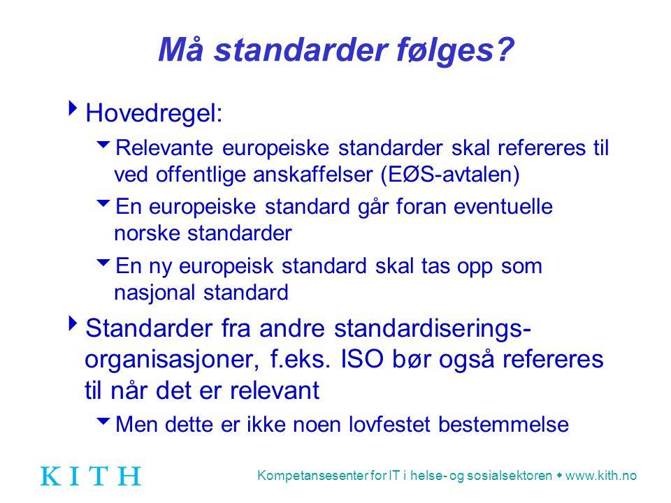 Kompetansesenter for IT i helse- og sosialsektoren  www.kith.no eBES EEG9  CEN workshop eBES - European Board for EDI/EC Standardization  eBES EEG9 - European Expert Group 9  Ekspertgruppe for EDI i helsesektoren  Etablert 1991  KITH deltar aktivt i arbeidet