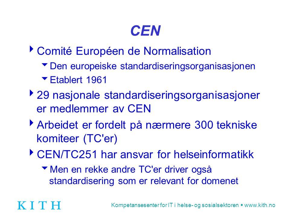 Kompetansesenter for IT i helse- og sosialsektoren  www.kith.no CEN  Comité Européen de Normalisation  Den europeiske standardiseringsorganisasjone