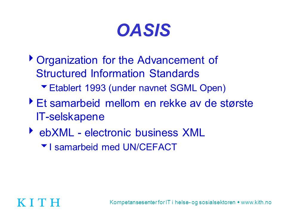 Kompetansesenter for IT i helse- og sosialsektoren  www.kith.no OMG  The Object Management Group  Etablert 1997  Konsortium med åpent medlemskap  Utarbeider spesifikasjoner som understøtter interoperabilitet mellom IT-systemer  UML - Unified Modelling Language  XMI - XML Metadata Interchange