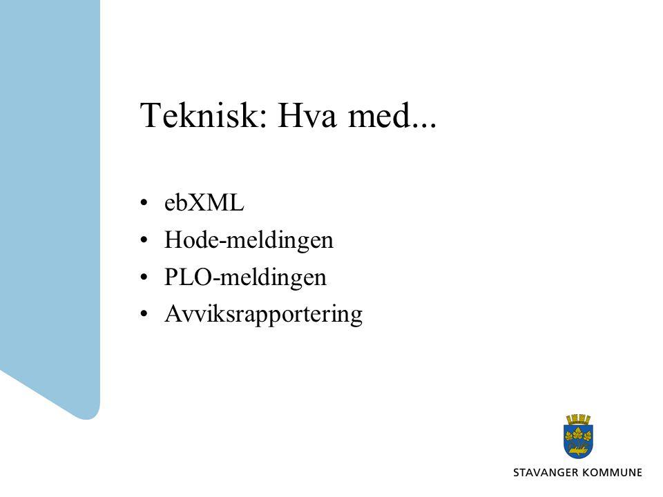 ebXML Må håndtere adressering til organisasjon og rolle.