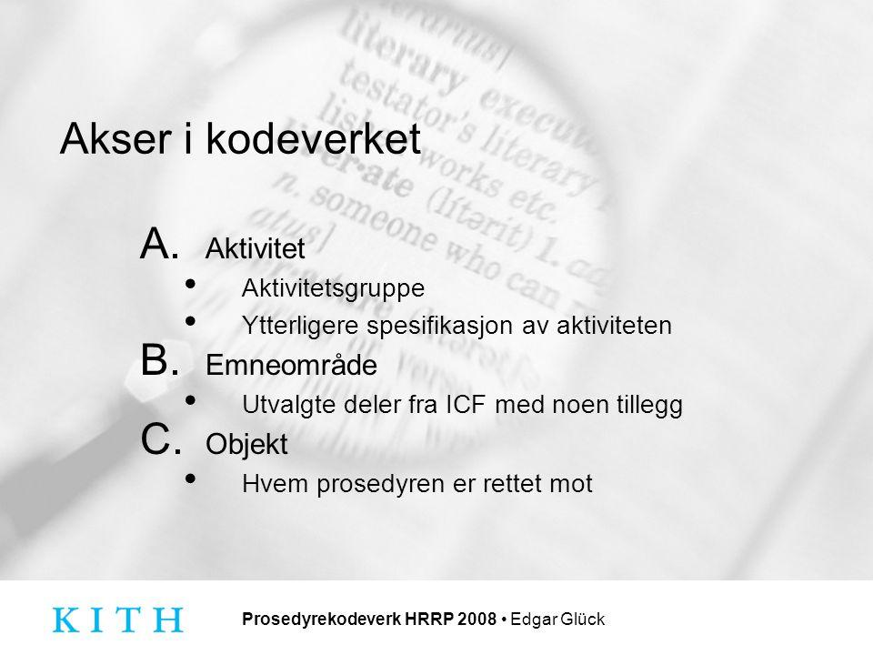 Prosedyrekodeverk HRRP 2008 Edgar Glück Akser i kodeverket A.