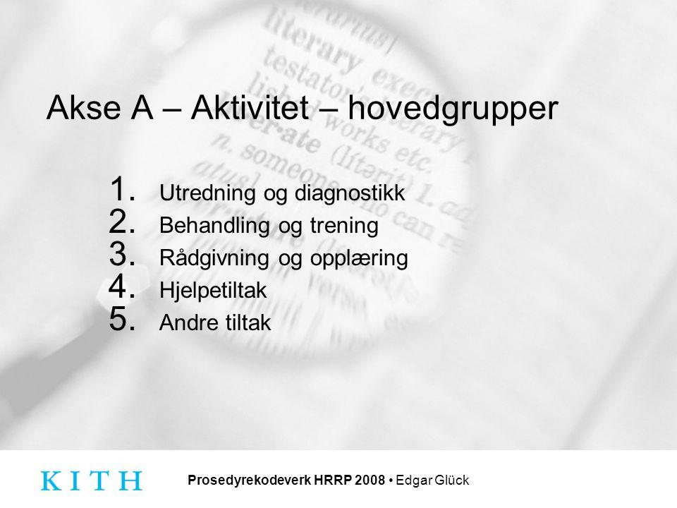 Prosedyrekodeverk HRRP 2008 Edgar Glück Akse A – Aktivitet – hovedgrupper 1.