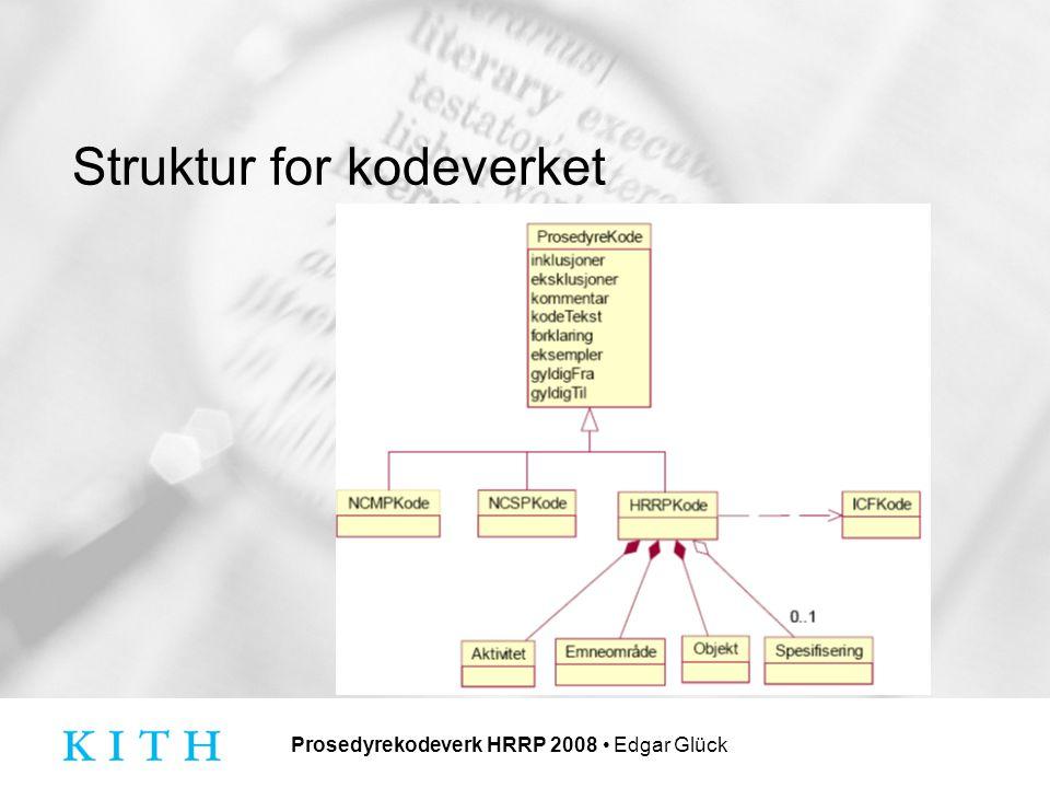Prosedyrekodeverk HRRP 2008 Edgar Glück Struktur for kodeverket