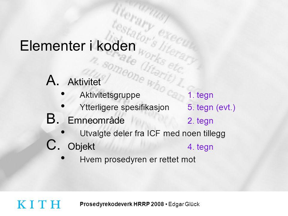 Prosedyrekodeverk HRRP 2008 Edgar Glück Elementer i koden A.