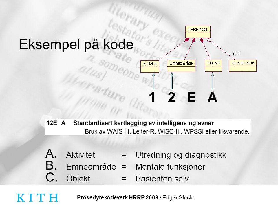 Prosedyrekodeverk HRRP 2008 Edgar Glück Eksempel på kode A.