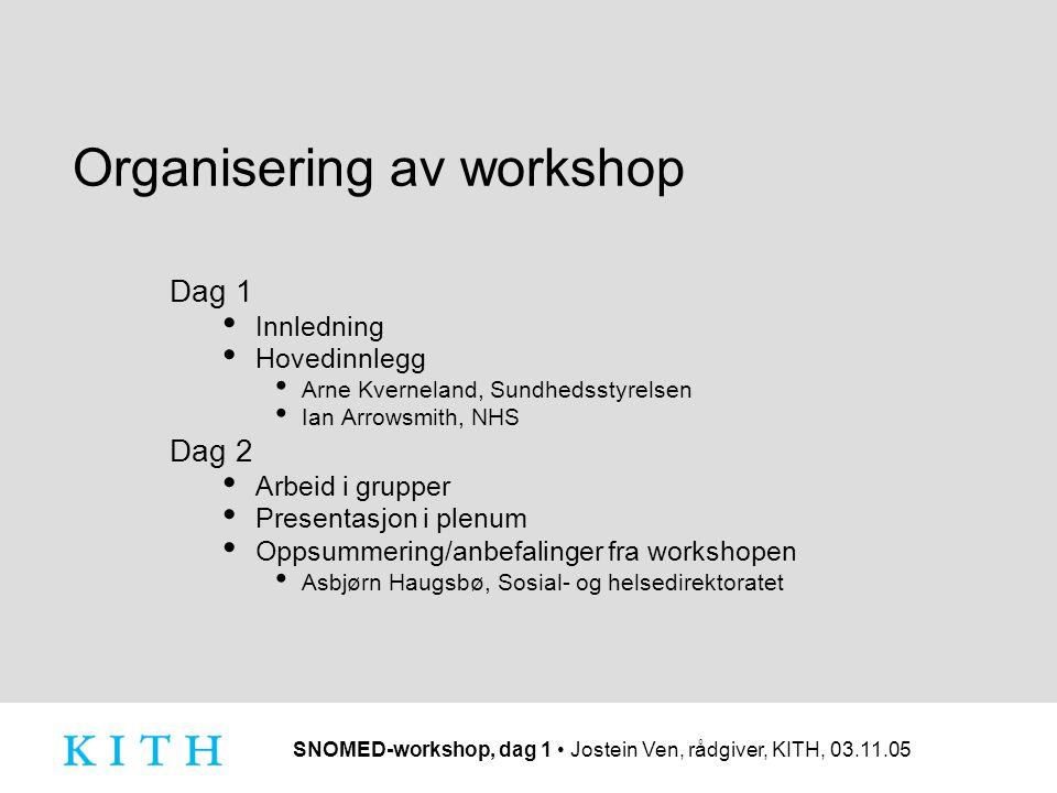 SNOMED-workshop, dag 1 Jostein Ven, rådgiver, KITH, 03.11.05 Organisering av workshop Dag 1 Innledning Hovedinnlegg Arne Kverneland, Sundhedsstyrelsen