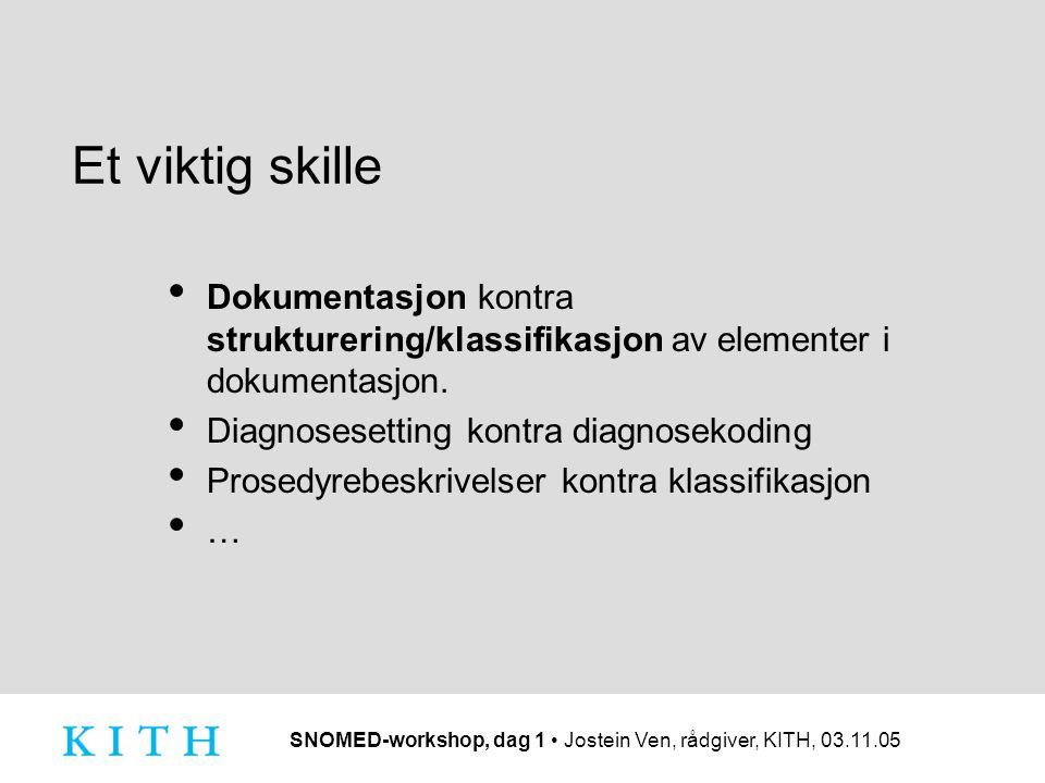 SNOMED-workshop, dag 1 Jostein Ven, rådgiver, KITH, 03.11.05 Et viktig skille Dokumentasjon kontra strukturering/klassifikasjon av elementer i dokumen