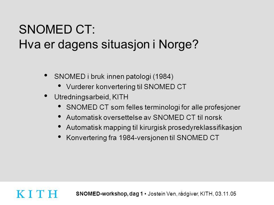SNOMED-workshop, dag 1 Jostein Ven, rådgiver, KITH, 03.11.05 SNOMED CT: Hva er dagens situasjon i Norge? SNOMED i bruk innen patologi (1984) Vurderer