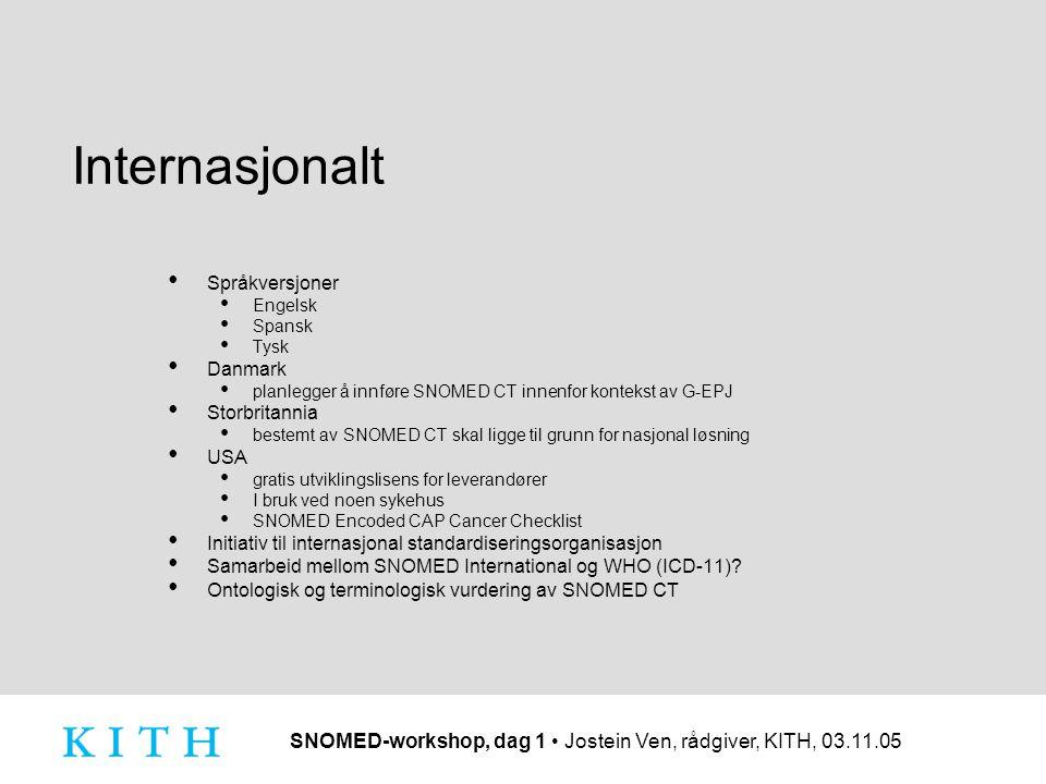SNOMED-workshop, dag 1 Jostein Ven, rådgiver, KITH, 03.11.05 Internasjonalt Språkversjoner Engelsk Spansk Tysk Danmark planlegger å innføre SNOMED CT