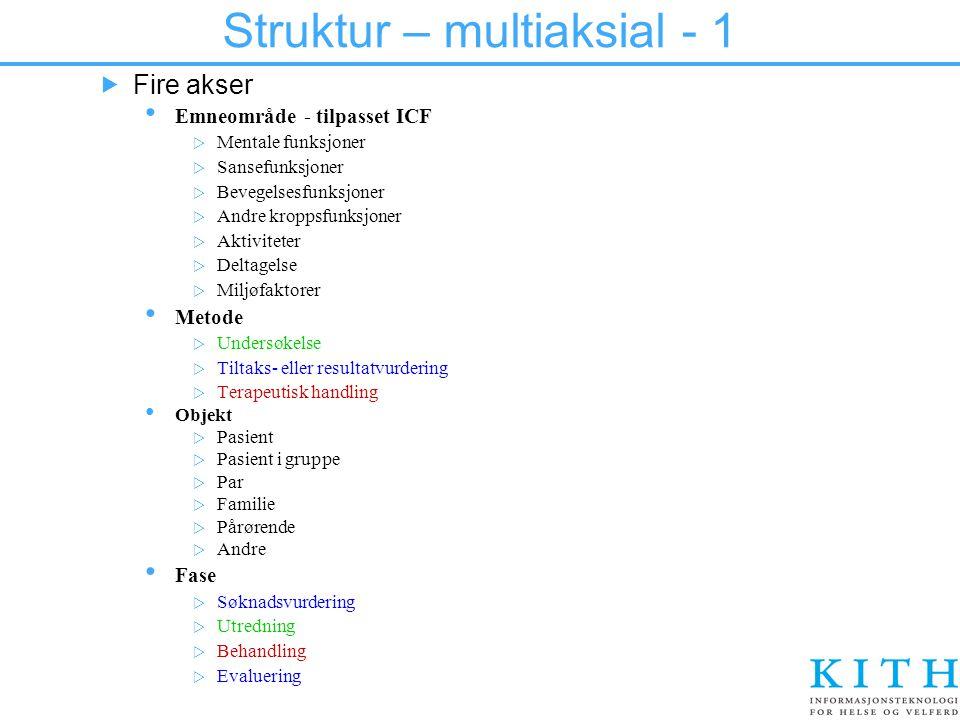 Struktur – multiaksial - 1  Fire akser Emneområde - tilpasset ICF  Mentale funksjoner  Sansefunksjoner  Bevegelsesfunksjoner  Andre kroppsfunksjo