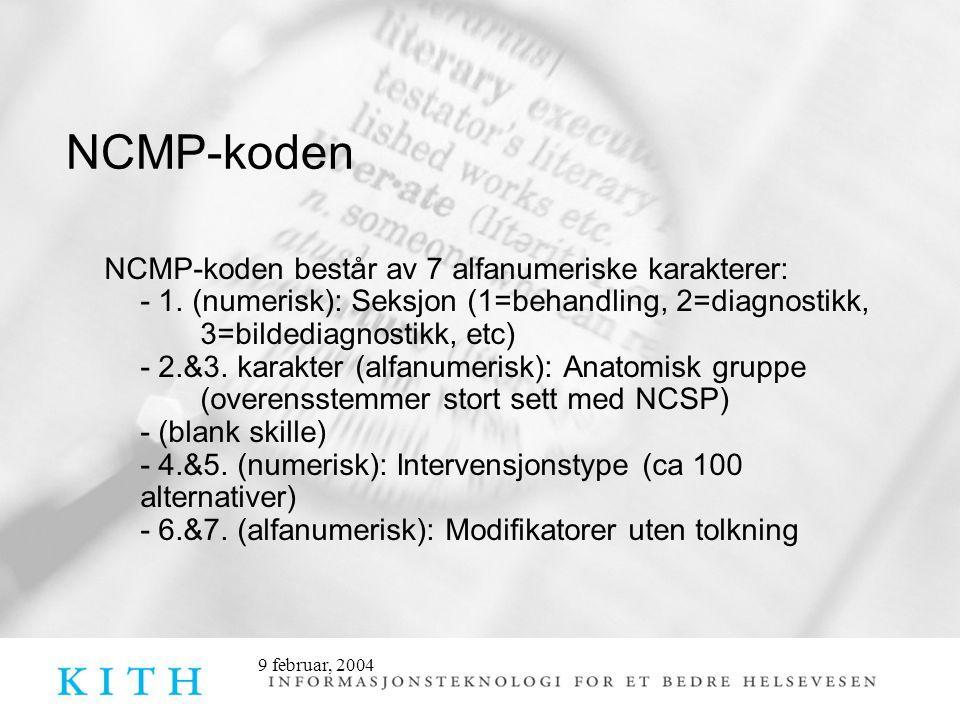 9 februar, 2004 NCMP-koden NCMP-koden består av 7 alfanumeriske karakterer: - 1.