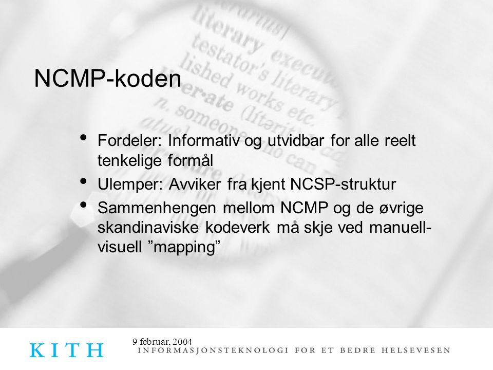 9 februar, 2004 NCMP-koden Fordeler: Informativ og utvidbar for alle reelt tenkelige formål Ulemper: Avviker fra kjent NCSP-struktur Sammenhengen mellom NCMP og de øvrige skandinaviske kodeverk må skje ved manuell- visuell mapping