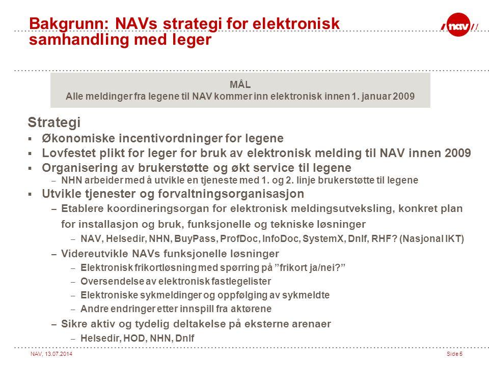 NAV, 13.07.2014Side 5 Bakgrunn: NAVs strategi for elektronisk samhandling med leger Strategi  Økonomiske incentivordninger for legene  Lovfestet pli