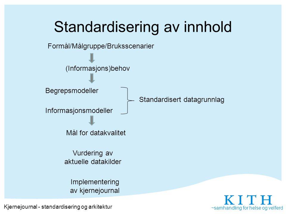 ~samhandling for helse og velferd Standardisering av funksjonalitet/teknisk Kjernejournal - standardisering og arkitektur Formål/Målgruppe/Bruksscenarier Prosessmodeller Funksjonelle modellerArkitektur og tekniske krav