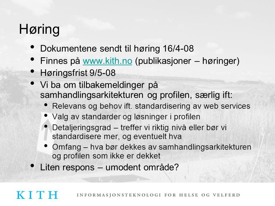 Høring Dokumentene sendt til høring 16/4-08 Finnes på www.kith.no (publikasjoner – høringer)www.kith.no Høringsfrist 9/5-08 Vi ba om tilbakemeldinger på samhandlingsarkitekturen og profilen, særlig ift: Relevans og behov ift.
