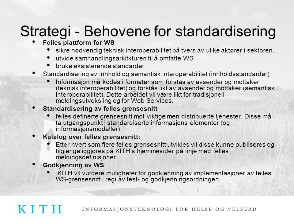 Strategi - Behovene for standardisering Felles plattform for WS sikre nødvendig teknisk interoperabilitet på tvers av ulike aktører i sektoren. utvide
