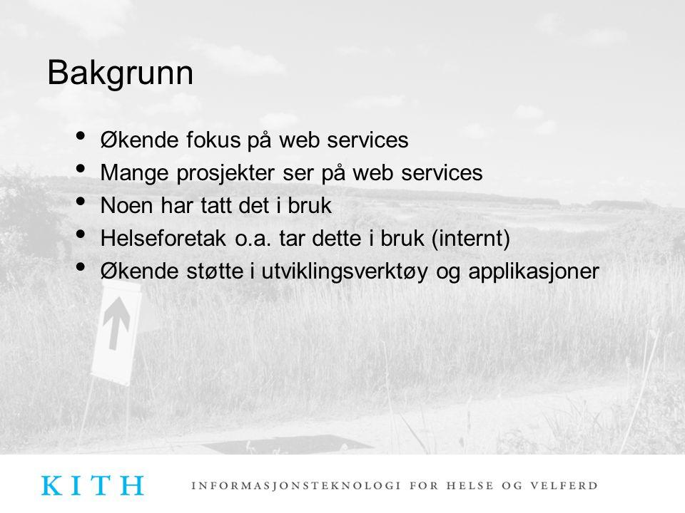 Bakgrunn Økende fokus på web services Mange prosjekter ser på web services Noen har tatt det i bruk Helseforetak o.a. tar dette i bruk (internt) Økend