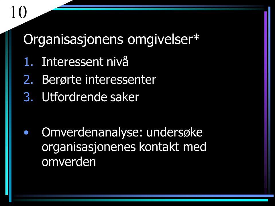 Organisasjonens omgivelser* 1.Interessent nivå 2.Berørte interessenter 3.Utfordrende saker Omverdenanalyse: undersøke organisasjonenes kontakt med omv