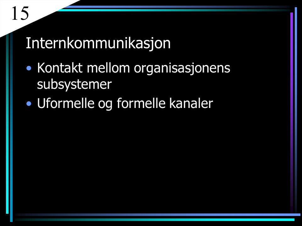 Internkommunikasjon Kontakt mellom organisasjonens subsystemer Uformelle og formelle kanaler 15