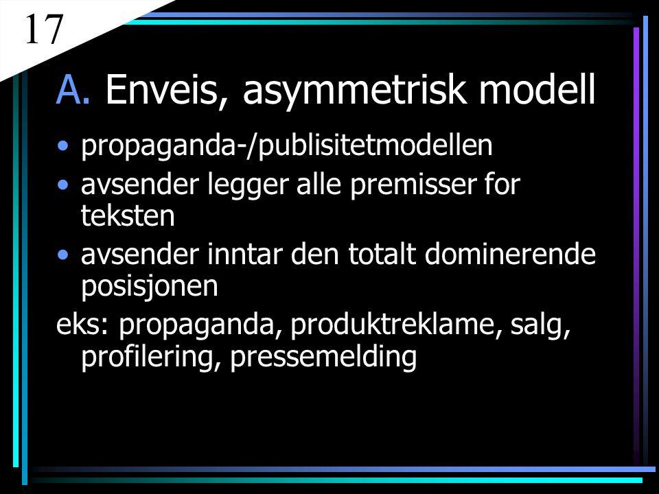A. Enveis, asymmetrisk modell propaganda-/publisitetmodellen avsender legger alle premisser for teksten avsender inntar den totalt dominerende posisjo
